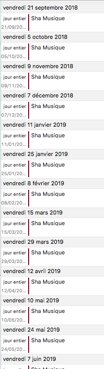 calendrier Machine à Sons 2018-2019