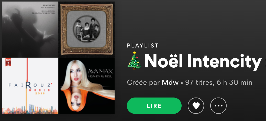 playlist intencity Noel 2020